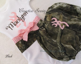 Pink camo set- pink buck camo diaper cover, bloomers, snap-tee, snapsuit, bodysuit,  one-piece choice of name