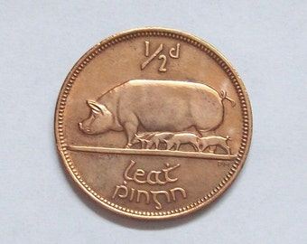 Irish Pig Halfpenny Coin 1953