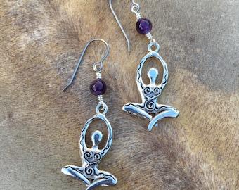 Amethyst Goddess Earrings Yogi Gift Yogini Gift for Yoga Teacher Doula Gift Midwife Gift New Mom New Mother Blessingway Gift Violet Gemstone