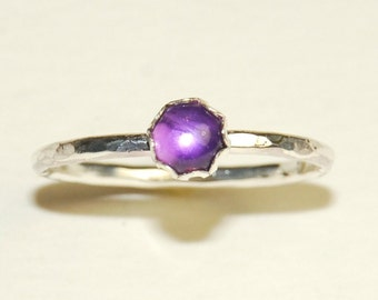 Purple Amethyst Gemstone Stacking Ring - Sterling Silver - Size 8 - Simple Jewelry - Hammered
