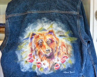 Handpainted Bear Benium Jean Jacket by Maure Bausch