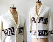 Vintage 1970s Cardigan Winter Sweater Cardigan Mens Womens Sweater Greek Key Design Button Up Cardigan Sweater Womens Extra Large Mens Large