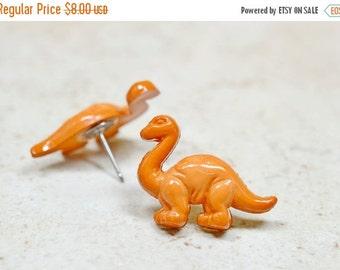 SALE Large Brontosaurus Earrings, Brown Dinosaur Earrings, Large Brontosaurus Stud Earrings Apatosaurus Posts Stainless Steel Retrosaurus Je