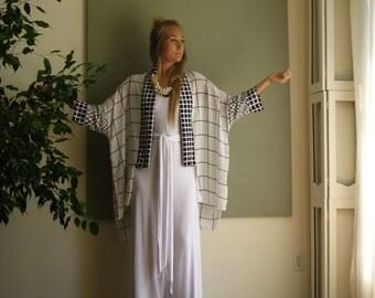Boho Chic Oversized Kimono Robe Sleeve Minimalist Cardigan Boxy Sweater Ruana Shawl Collar Soft Lightweight- Black and White - One Size