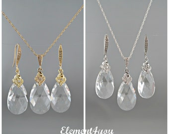 Bridal Crystal Jewelry set, Swarovski Teardrop Crystal, Choice of sterling silver or 14k gold filled, Bridesmaid gifts. Wedding Jewelry Set