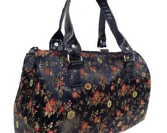 "USA Handmade Handbag Doctor bag Satchel Style With ""Pink & Gold Flowers"" Pattern  Bag Purse, New"