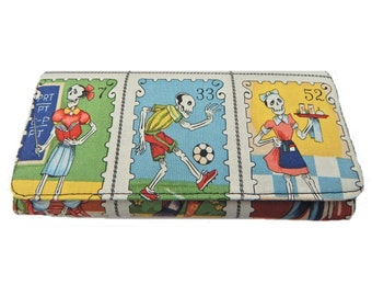 "US Handmade BI-FOLD  Woman Wallet with  ""Cartas Loteria "" Pattern , Cotton  Fabric, Beige Color,New, Rare"