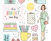 Printable PLANNER GIRL die cuts!- Digital File Instant Download- Erin Condren, ephemera, pastels, collage, Bando, the Happy Planner