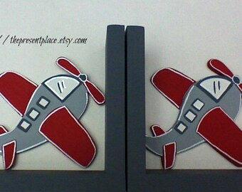 childrens bookends,boys bookends,Airplane bookends,grey,gray,red,personalized bookends,kids bookends, airplane book ends, airplane decor