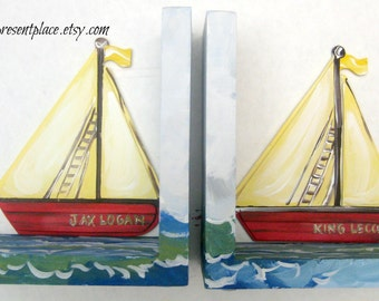 sail boat bookends,where the wild things are theme,kids bookends,boys bookends,childrens bookends,sailboat bookends,personalized book ends