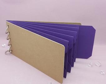 "Purple Shades, Pocket Tag, Chipboard Album, Size 8-1/4"" x 4-1/4"", Scrapbooking, Memory Keeping, Photo Album, Kraft Covers"