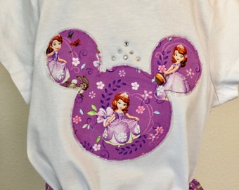 Sofia the First girls' twirly skirt & shirt set, perfect for Disney, Disney Cruise, and parties