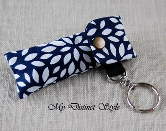 Fabric Lip Balm Holder with Keyring, Lip Balm Cozy, Chapstick Holder