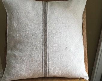 Grain Sack Pillow Cover Tan Stripe Grain Sack Pillow Grain Sack Ticking Pillow Grain Sack Envelope Pillow Cover Stripe Grain Sack Pillows