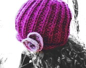 Knit hat, womens beanie, flower, minimalist, Red-violet, winter, warm, wool, handmade, rose, urban boho,