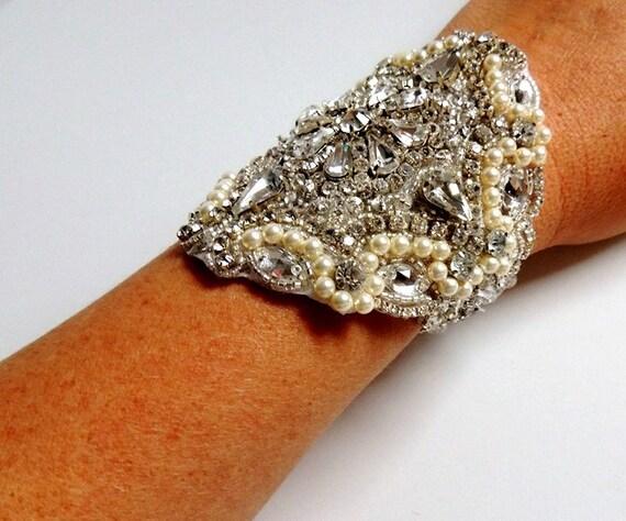 Gia Wedding Bridal Beaded Crystal Bracelet Cuff Bangle