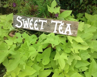 Wedding Reception Table Southern Sweet Tea Drink Sign Barn Wood Hand Painted Ready to Ship