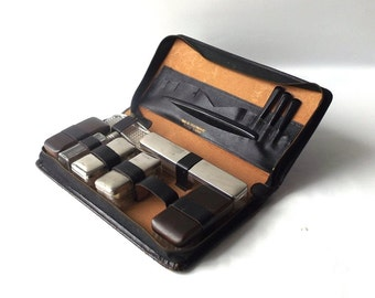 vintage 1950's mens shaving kit toiletries travel set containers mid century modern retro soap toothbrush comb brown leather case germany