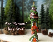 "The ""Narrows"" Fairy Garden Hermitage Tower - Enchanted Round N Scale Stone Folly with Flower Box, Moss and Round Tile Roof - Terrarium Decor"