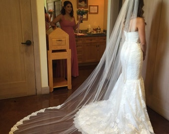 Cathedral length veil with Alencon lace - Lissette