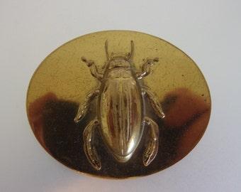 Unique Vintage Brass Scarab Beetle Brooch