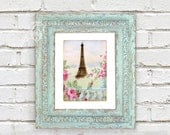 Eiffel Tower Printable Romantic French Garden Fantasy Antique Wallpaper Collage 8x10