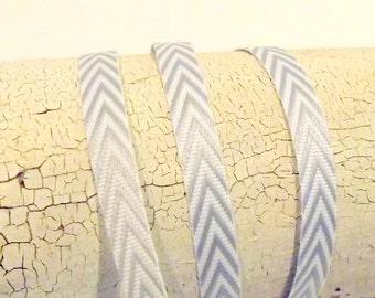 Chevron Stripes Grey and white stripes twill chevron 1/4 inch wide 2 yards gray