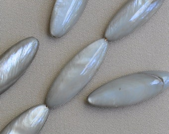 30 x 11 mm Long Marquise Shaped Mother of Pearl Grey Beads 1 Full Strand 13 Pieces