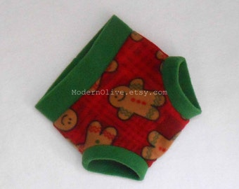 Medium Fleece Soaker Diaper Underpant Cover/Soaker, Red Green Burgandy Plaid Gingerbread Men, Ready to Ship Vegan Christmas Holiday