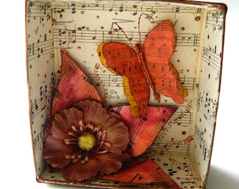 Shadow Box, Mixed media assemblage, Butterfly Art, Mother's Day Gift,  Fall Shadow Box, Autumn leaves, Thanksgiving Gift, Bronze and Gold