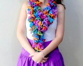 Blue Crochet Scarf, Rainbow colors skiny long scarf, Purple cotton mini skirt, short skirt for girls