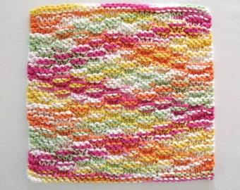 Knit Dishcloth Cotton Washcloth Knitted Dishcloth Rainbow Kitchen Decor