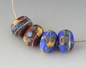 Rustic Sedona Nuggets- (4) Handmade Lampwork Beads -  Black, Blue, Yellow
