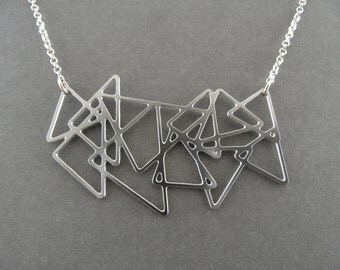 triangle necklace, silver triangles, triangles jewelry, triangle jewelry, statement jewelry