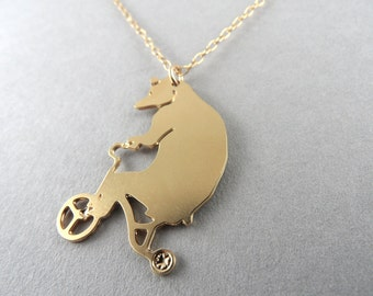 bear jewelry, bear necklace, circus bear, bear on tricycle