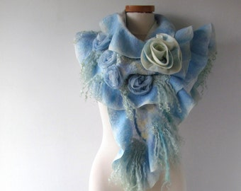 Nuno Felted scarf, Blue  ruffle shawl, Nuno felted  collar, Blue Wool scarf, Floral Rose shawl wedding scarf