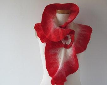 Felted scarf ruffle collar Red   ruffle scarf women scarf  scarf by GalaFilc