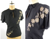 RESERVED 1940s Crepe Blouse Sequins and Beaded Detail - Black Rayon Crepe - Franklin Fashions
