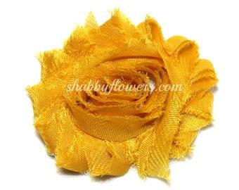 Shabby Chiffon Flowers - Wholesale Shabby Flowers - chiffon rose flower trim, shabby flower- MUSTARD