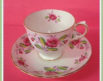 Tuscan Fine English Bone China, Tea Cup and Saucer, Pink Flowers, England, Vintage  c1947  1950's