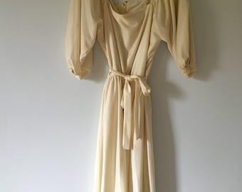 70s Vintage Cream Dress • Retro Rare Dress • Jersey Poly Dress • Studio 54 Boho Dress