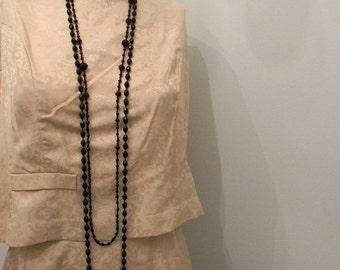 ON SALE vintage. 50s  Cream Silk Two Piece Dress / S M