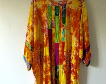 20% OFF SALE Colorful Artist Bohemian Rayon Tunic • Flowy Boho Top •  Unique Oversized Top •  Free Size