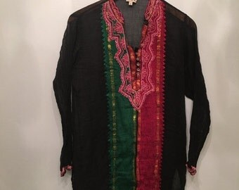 20% OFF SALE Vintage Black Indian Embroidered Tunic • Bohemian Top • Gauze  Cotton Tunic