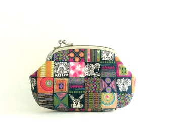 Frame Purse Wallet Side Lock Pouch - Animal Squares