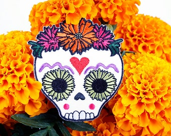 day of the dead sugar skull embroidered iron-on patch