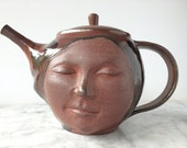 Face Teapot Sculpture, Serving Art Figure Pot Happy Head Smile
