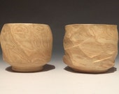 Two marbled tea bowls, faceted pottery yunomi tea cup set, ceramic vessels
