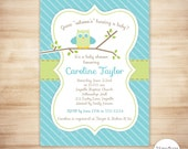 Owl Baby Shower Invitation - Baby Boy Shower - Owl Stripes Invite - Green and Turquoise Owl - PERSONALIZED & PRINTABLE