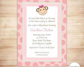 Monkey Baby Shower Invitation - Mod Monkey Baby Girl Shower - Pink Monkey Baby Shower Invite - EDITABLE - INSTANT DOWNLOAD